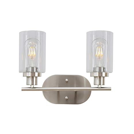 7b1b44c7db768 2 Light VINLUZ Bathroom Vanity Light Brushed Nickel Industrial Wall Sconce  Fixtures for Porch Bathroom Kitchen Workshop