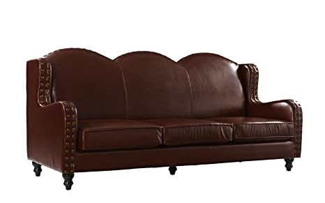 Leather Match Sofa 3 Seater, Living Room Couch, Loveseat for 3 with Nailhead Trim (Dark Brown)
