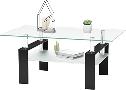 Rectangle Glass Coffee Table Metal Tube Legs End Table