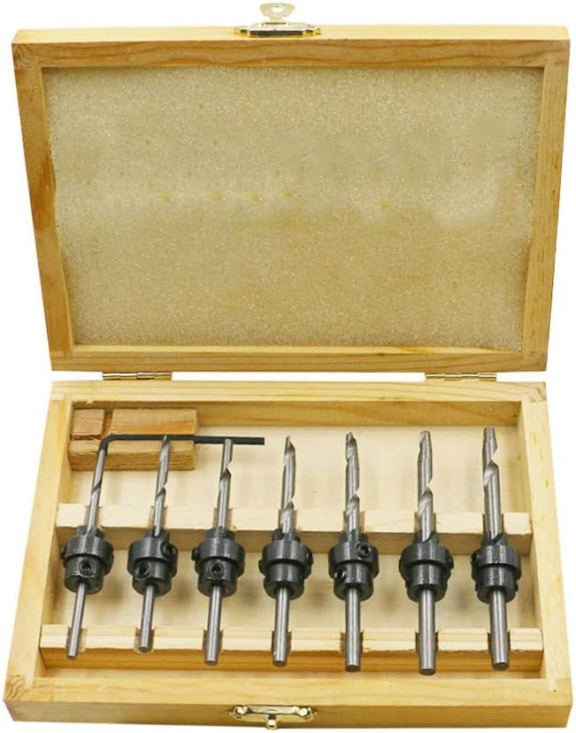 Woodworking Chamfer Carpentry Reamer With 1 Free Hex Key Wrench Buwico 7 Pack Countersink Drill Bits Set with Wood Box,Counter Sink Bit for Wood High Speed Steel