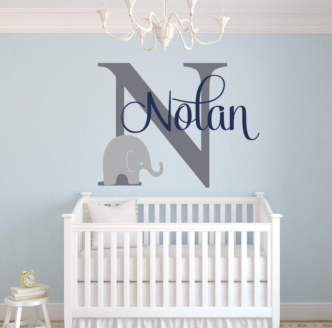 Custom Elephant Name Wall Decal for Boys - Baby Boys Room Decor - Nursery  Wall Decals - Elephant Wall Art (23Wx23H)