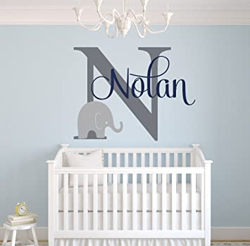 Custom Elephant Name Wall Decal for Boys - Baby Boys Room Decor - Nursery Wall  Decals
