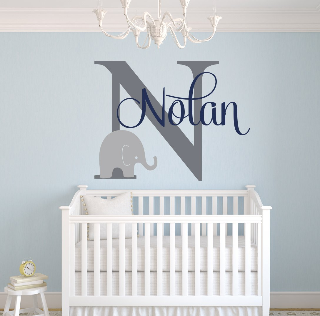 Custom Elephant Name Wall Decal for Boys - Baby Boys Room Decor - Nursery Wall Decals - Elephant Wall Art (30Wx22H)