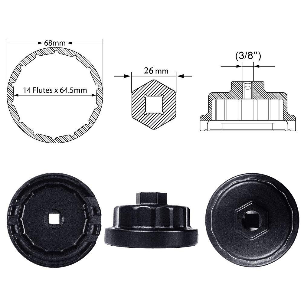 Ibetter Oil Filter Wrench for Toyota Lexus Scion Avalon Rav4 with 2.5L to 5.7L Engines Oil System Housing Tool Black