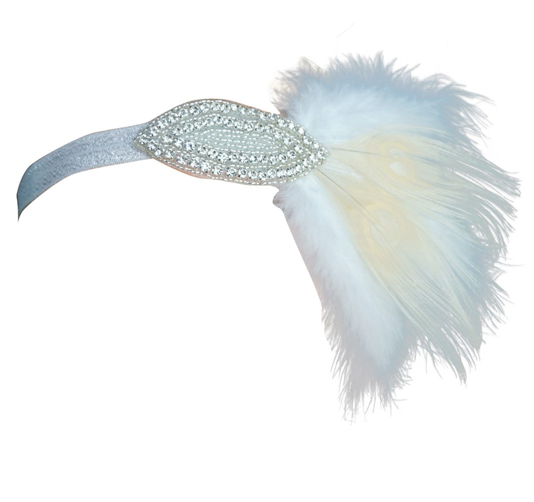 Blank K Wedding Dress Fascinator Headpiece Great Gatsby Dress 1920 Headband Fascinator (White)