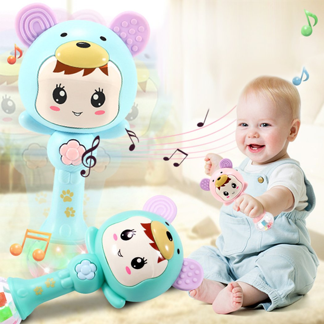 Early Education 3 Month Old Baby Plastic Dynamic Rhythm Stick Hand Mucial Rattle For Baby Kids Children Boy Girl ZLFT 017