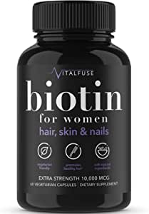 Premium Hair Growth Vitamins Supplement (60 Vegetarian Capsules)   Enhanced with Biotin, B6, C and More to Fight Hair Loss, Increase Length & Strength   All Natural Ingredients Plus Nail Support
