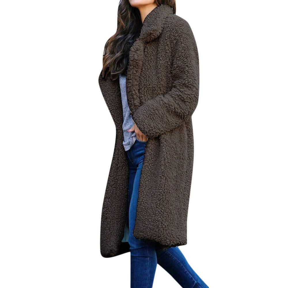 Ulanda Womens Thick Warm Fleece Long Sleeve Open Front Coat Thermal Jackets Long Outwear Overcoat