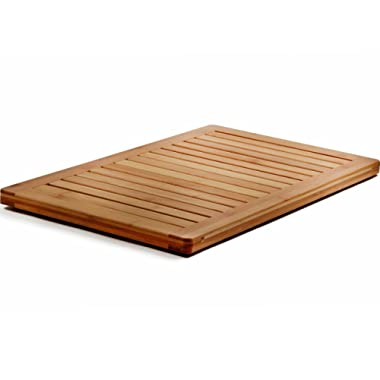 Bambusi Luxury Bamboo Bath Mat - Non-Slip Shower Floor Mat for Spa and Bathroom or Indoor and Outdoor Use - 18 x 24 Inches
