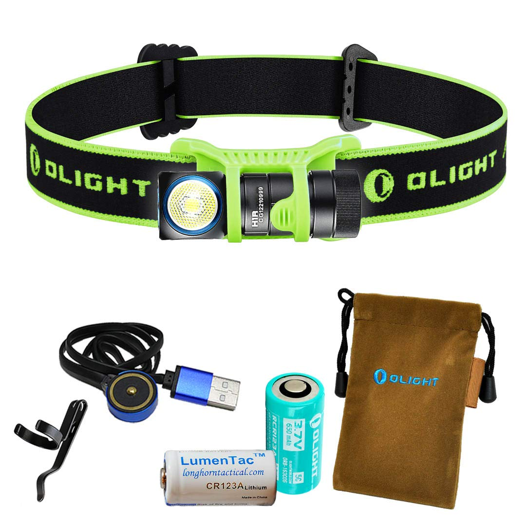 OLIGHT H1R 600 Lumens Rechargeable LED Headlamp w RCR123A Battery, Magnetic USB Charging Cable, and LumenTac CR123A Battery (Green, Neutral White)