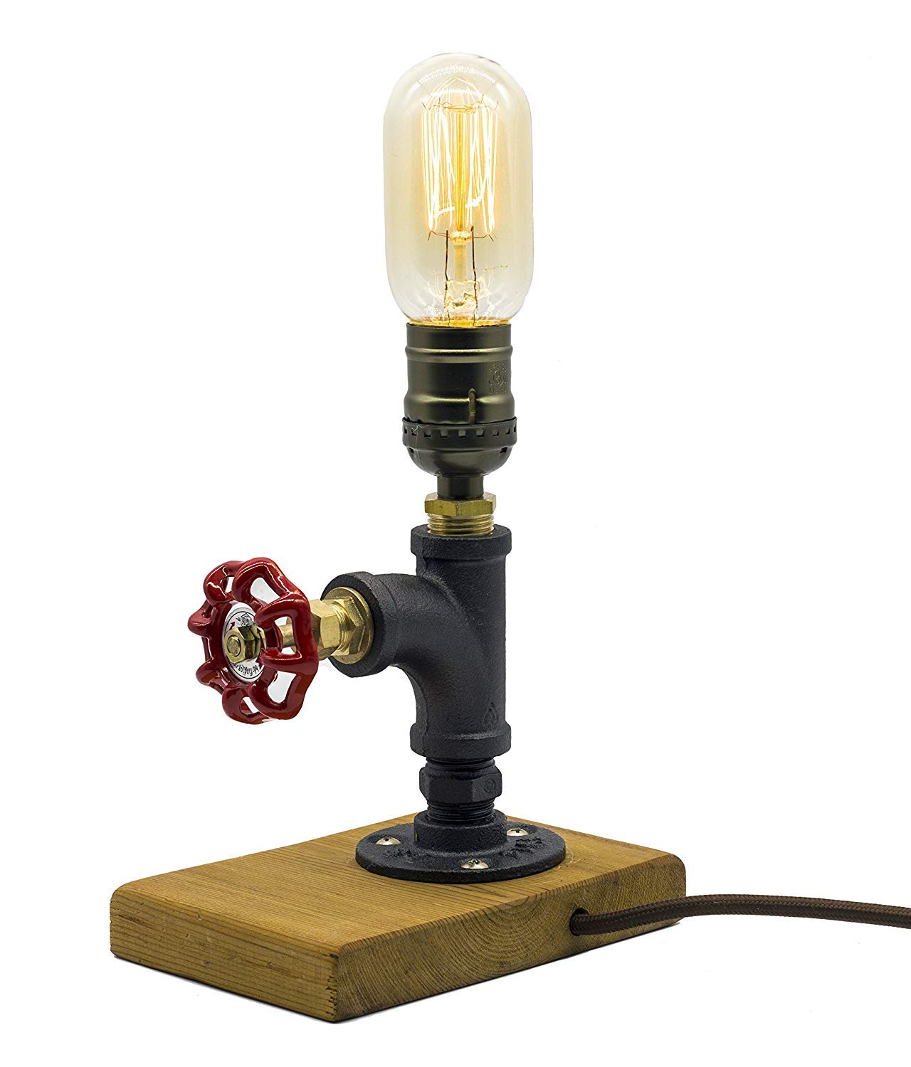 """Steam Punk Lamp with Dimmer, Dimmable Loft Style Industrial Vintage Antique Style Light, Wood Base with Iron Piping Desk Lamp, Y-Nut""""The Professor"""" Retro Desk Lamp LL-013"""
