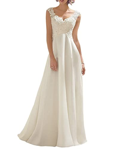 Luokadress Women's V-neck Sleeveless Lace Beaded Wedding Dress Evening Dress