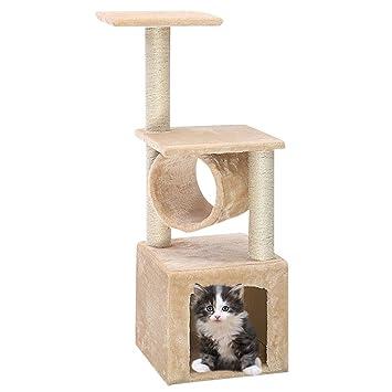 COSTWAY Árbol para Gatos Rascador Gatos Juguete Altura 90cm Cama ...