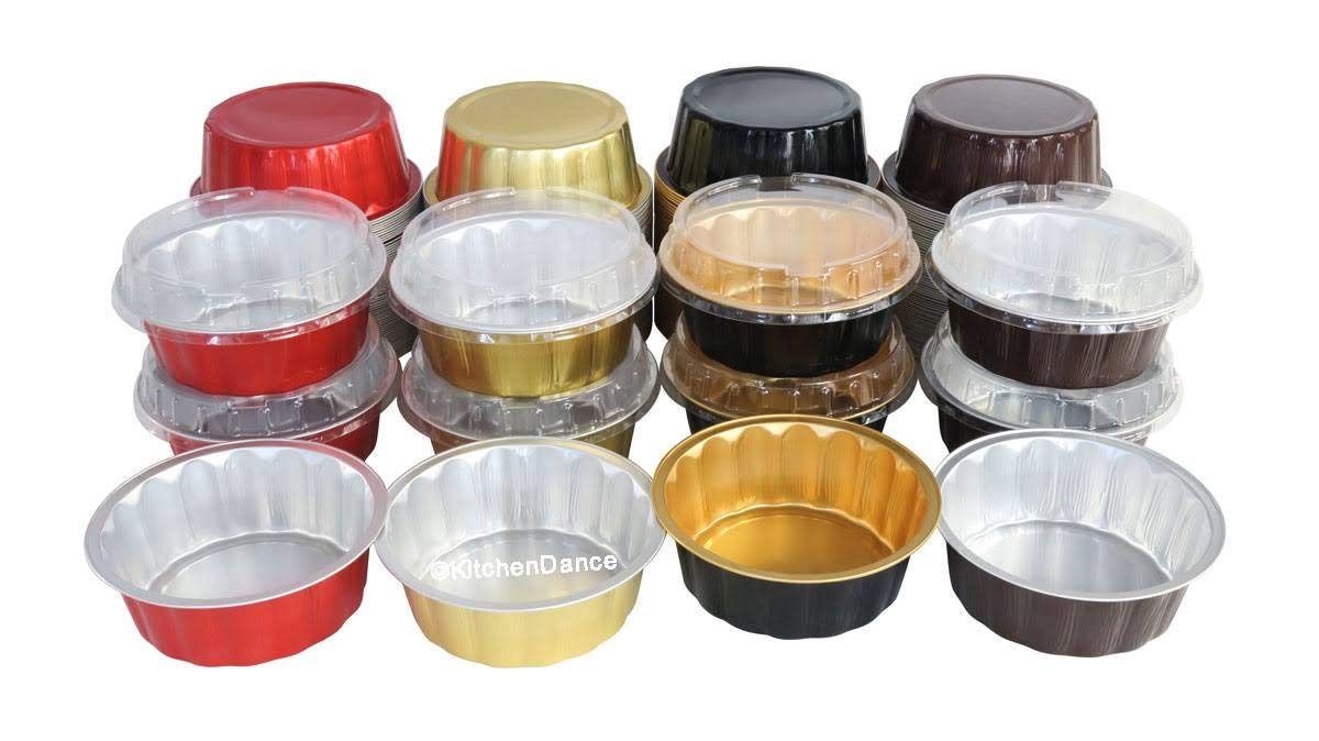 KitchenDance Disposable Colored Aluminum 8 oz. Individual Cake Cups- Tart Pans-Dessert Pans. Color and Lid Options #A8 (100, Black & Gold With Lids) by KitchenDance.com (Image #5)
