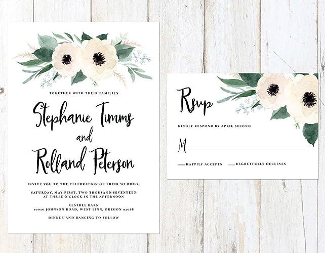 Floral Wedding Invitations.Amazon Com Floral Wedding Invitation White Flowers Wedding