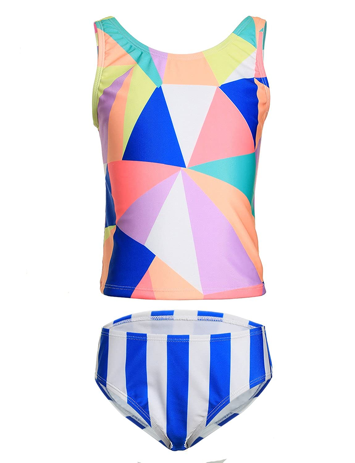 LEINASEN Big Deal Two Piece Swimsuits for Girls, Colorful Triangle Pattern Kids Tankini Bathing Suit with Blue Stripe Bottom