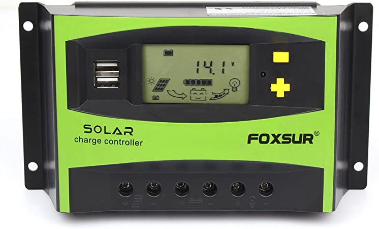 iSunergy 10A Solar Charge Controller 12V//24V Auto Working Solar Panel Charging Discharge Regulator with Dual 5V USB Output Backlight LCD Display