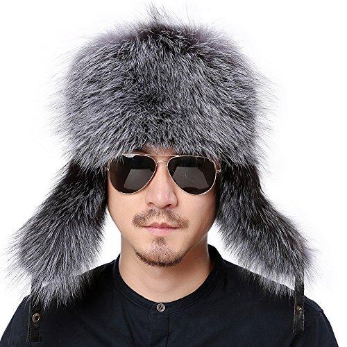 b9ce9159b1c8 Hats & Caps Valpeak Womens Winter Hat Knitted Mink Real Fur Hats Fox Brim  Black Fox Brim1 Accessories