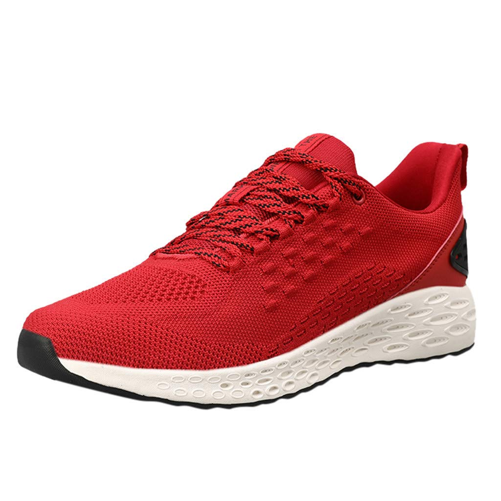 Yomiafy Men's Lightweight Wild Sneakers Comfortable Breathable Running Shoes Casual Walking Shoes(Red,US:7)