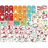 KIDPAR 420 PCS Christmas Gift Tags Self-Adhesive Stickers for Festival Presents, Wrapping Paper and Gift Bags Holiday…