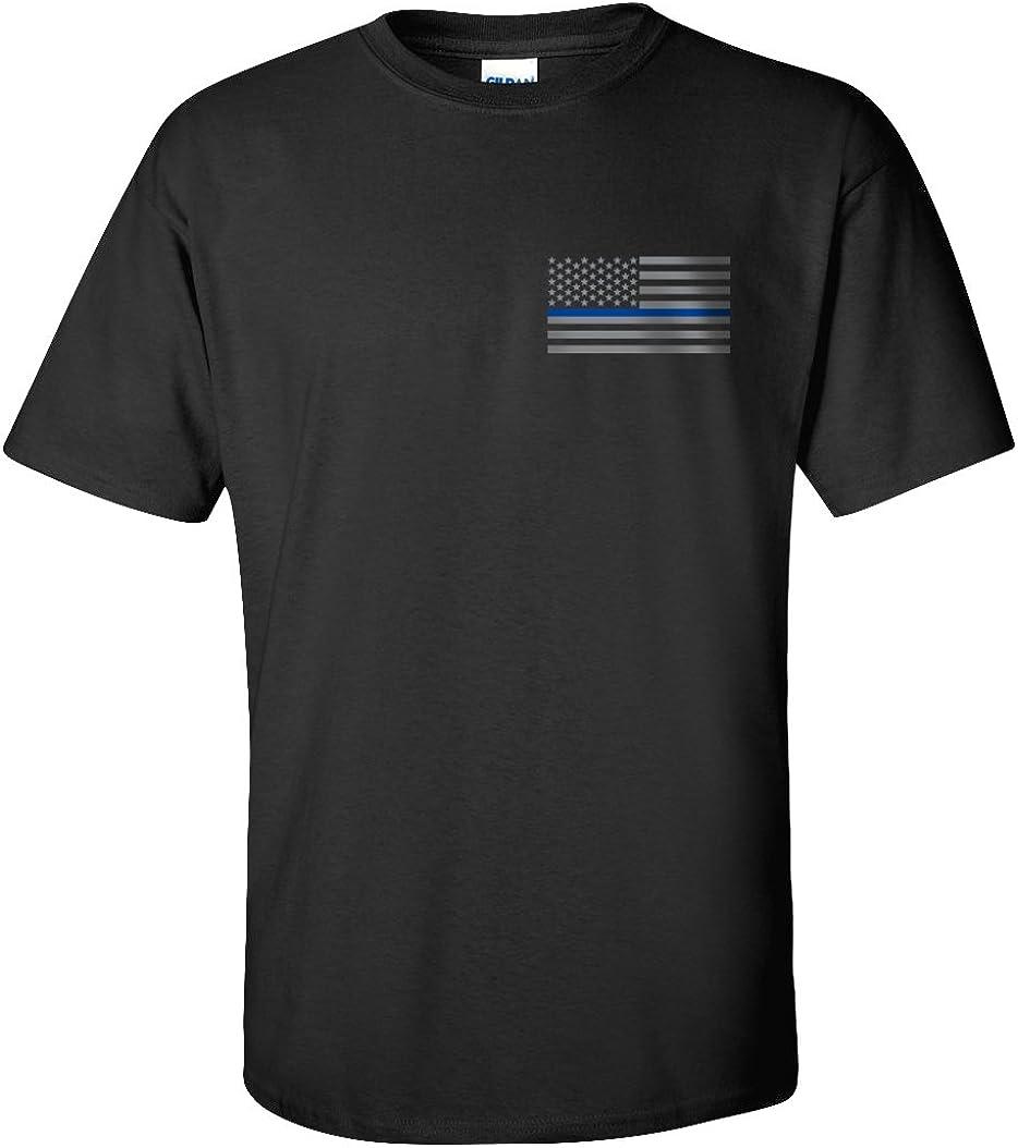Law Enforcement Flag Police Officer Blue Lives Matter Black T-shirt Tee Shirt