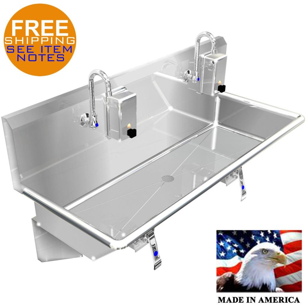 HAND SINK INDUSTRIAL 2 STATION 48'' HANS FREE 304 STAINLESS STEEL MADE IN AMERICA by BSM