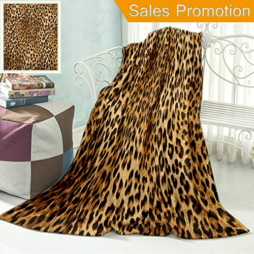"""(Unique Custom Flannel Blankets Brown Leopard Print Animal Skin Digital Printed Wild African Safari Themed Spotted Pattern Super Soft Blanketry for Bed Couch, Throw Blanket 40"""" x 60"""")"""