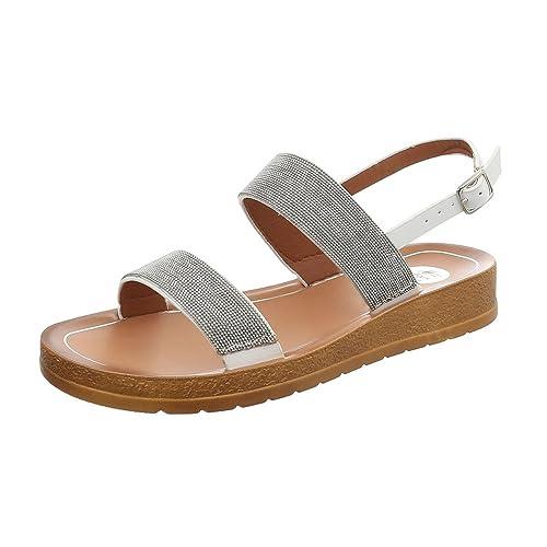 Ital-Design Riemchensandalen Damen-Schuhe Flach Riemchen Schnalle Sandalen    Sandaletten Weiß, Gr 1d4fede3a9