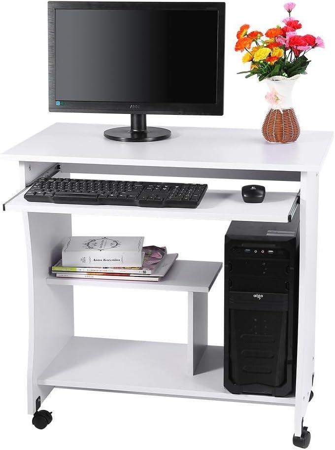 PC Laptop Desk Writing Table Workstation Corner Furniture with Keyboard Shelf for Home Office Wooden Computer Desk