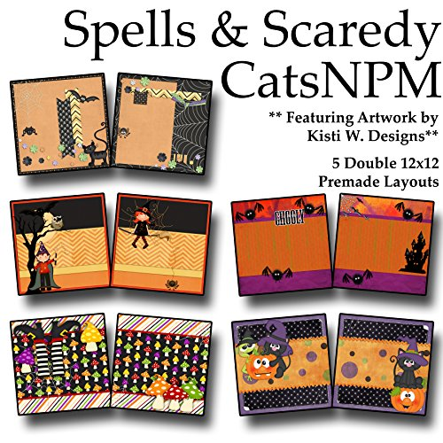 SPELLS & SCAREDY CATS Non-Photo-Mat Scrapbook Set - 5 Double Page Layouts -