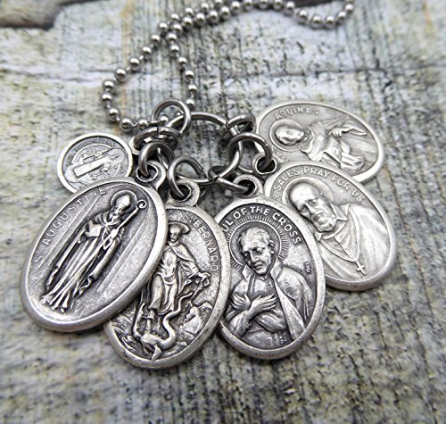 Students Holy Medal Necklace or Keychain, St. Francis de Sales, St. Augustine, St. Bernard, St. Paul of the Cross, St. Thomas Aquinas, St. Benedict, Mens, Teens, Boys, Unisex, Doctors of the Church