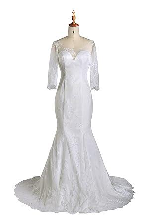 Wedding Dresses Mermaid Lace Long Sleeve Vintage Princess Bridal ...