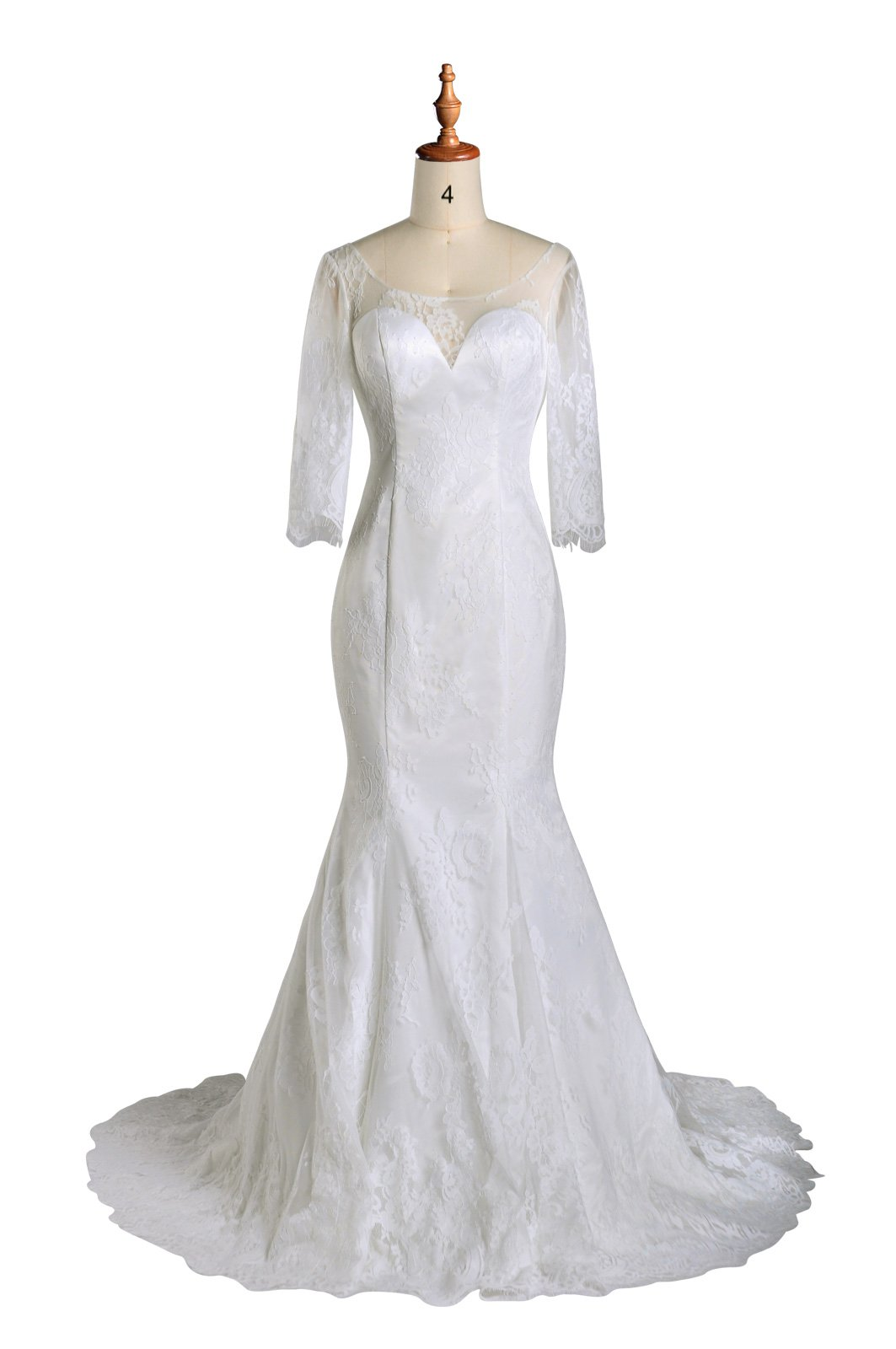 Wedding Dresses Mermaid Lace Long Sleeve Vintage Princess Bridal Gowns Simple Casual, Color Ivory,L