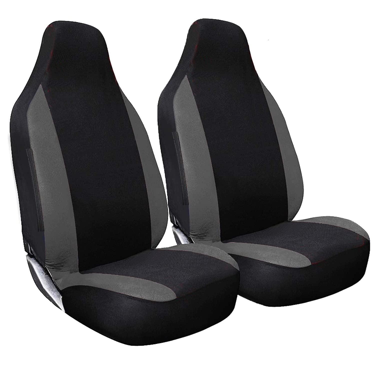 Shield Autocare /© RACE1+1-GREY Black with Grey Racing Panels Car Front Seat Covers Protectors 1+1-L1226