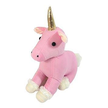 Tamaño grande de peluche, diseño de unicornio, color fucsia, rosa, beige y
