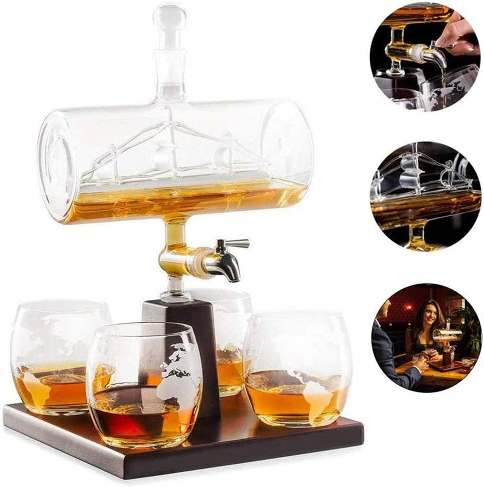 N / A Jarra de Whisky con Barco Antiguo, Juego de Jarra, Material de Vidrio de Alto Boro Transparente sin Plomo, Adecuado para Bodas, cumpleaños, Navidad