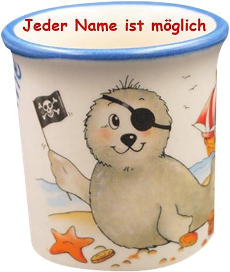 KERAMIK NAMEN EIERBECHER KIND PIRAT mit Namensgravur