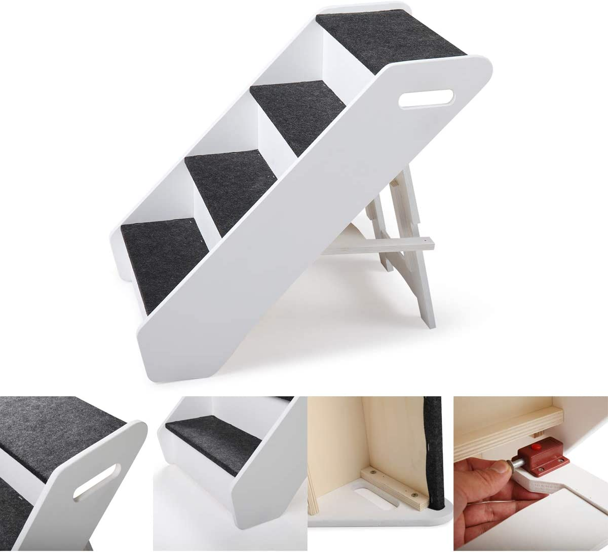 Fit for Small to Medium Pets COZIWOW Small Pet Dog 4-Step Stairs Ramp Ladder Cats and Dogs Indoor Outdoor Foldable,2Colors,20.4 H