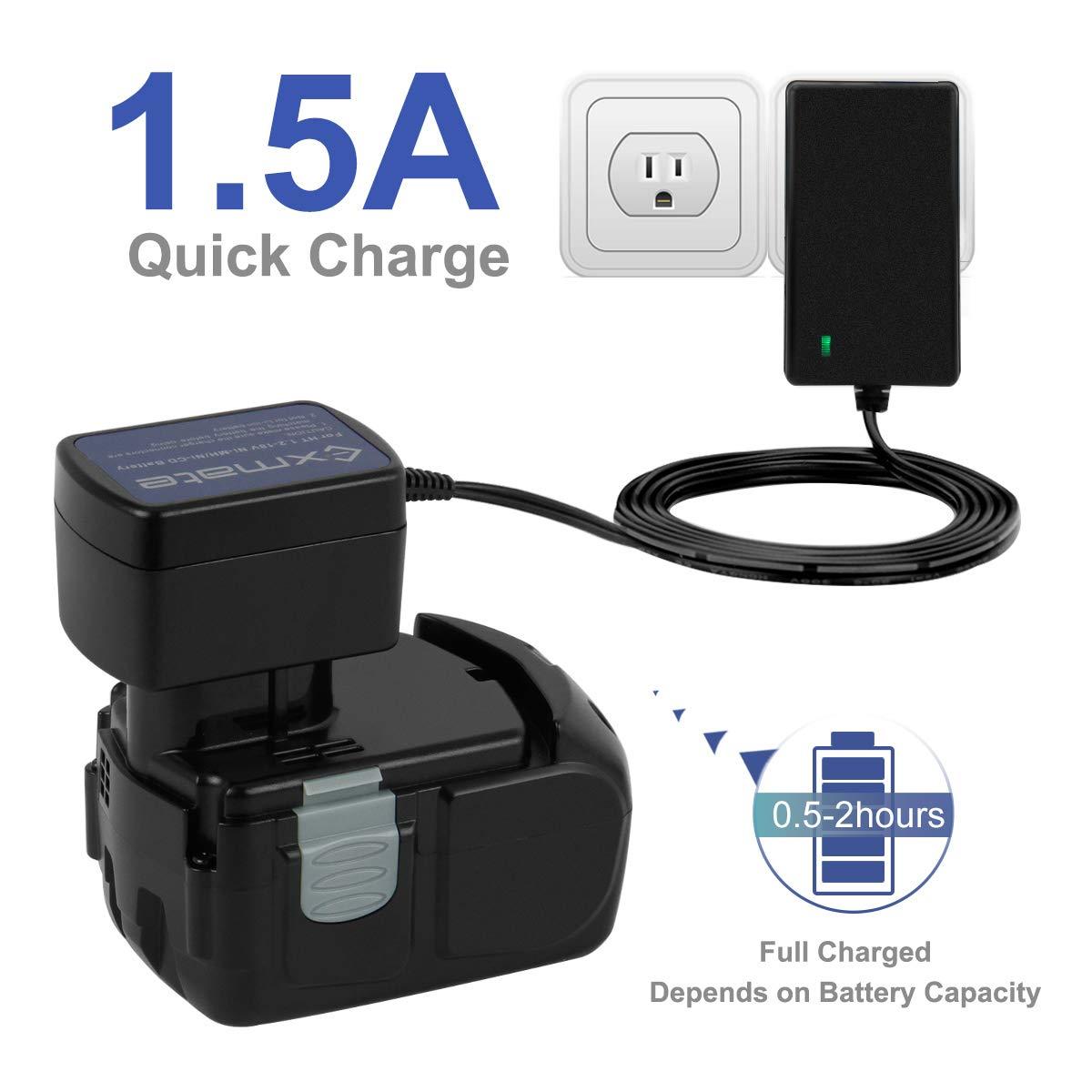NO para bater/ías de ion de litio Exmate Cargador Multivoltio para Hitachi 7.2V 9.6V 12V 18V Ni-MH//Ni-Cd EB712S EB912S EB1212S EB1812S