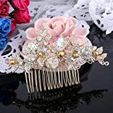 BriLove Womens Bohemian Wedding Bridal Crystal Golden Simulated Pearl Hollow Leaf Hair Comb Clear AB Gold-Tone