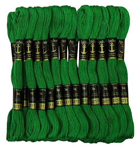IBA Indianbeautifulart Cross Stitch Hand Embroidery Thread Stranded Cotton Craft Sewing Floss 25 Skeins-Green