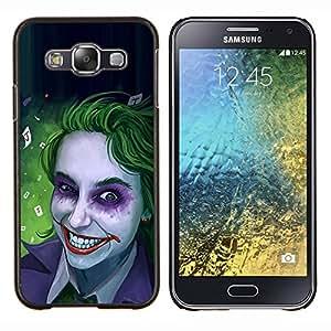TECHCASE---Cubierta de la caja de protección para la piel dura ** Samsung Galaxy E5 E500 ** --Zombie Art Blue Eyes espeluznante sonrisa verde