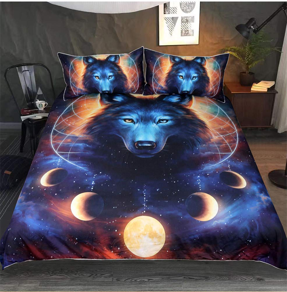 Onlyway 3pcs Duvet Cover Sets Various Halloween Animal 3D Print 100% Polyester Fiber Quilt Cover & Pillowcases (Wolf, Twin Size:173218cm)