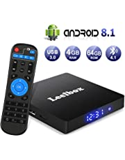 Android 8.1 TV Box, Android Box 4GB RAM + 64GB ROM, Leelbox Q4 MAX Smart TV Box RK3328 Quad Core 64 bit, USB 3.0, Wi-Fi integrato, BT 4.1, Android TV UHD 4K Box TV Android