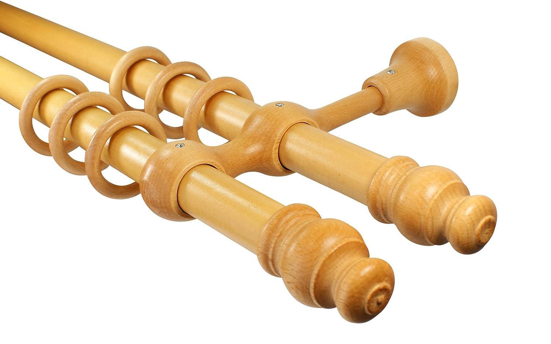 Gardinenstangen 2-läufig Holz Farbe Eiche hell mit 28 mm Durchmesser, 360 cm mittig geteilt