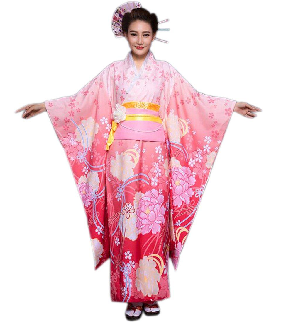YueLian Women Kimono Robe Traditional Japanese Yukata Kimonos Dress (Pink)