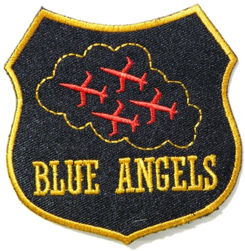 US NAVY BLUE ANGELS FIGHTER JET Army Military Pilot Logo Tab Jacket Uniform Patch Sew Iron on Embroidered Sign Badge Costume (Improvised Halloween Costumes Adults)