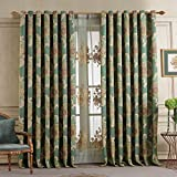 84″W x 102″L (Set of 2 panels) Multi Size Available Custom Country Rustic Jacquard Floral Grommet Top Energy Efficient Window Treatment Draperies & Curtains Panels For Sale