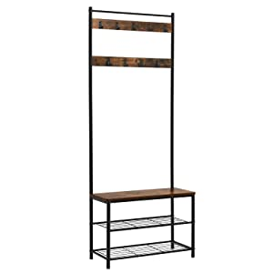 VASAGLE Vintage Hooks, Hall Tree Entryway Shoe Bench Rack and Coat Stand, Storage Shelf Organizer, Accent Furniture with Metal Frame UHSR41BX
