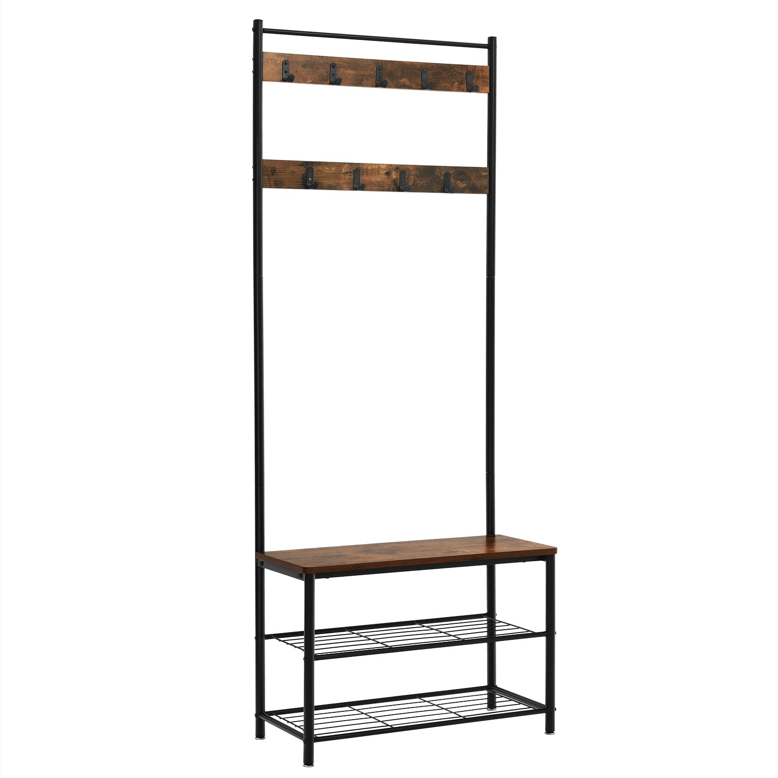 SONGMICS Vintage Coat Rack with Hooks, Hall Tree Entryway Shoe Bench Rack and Coat Stand, Storage Shelf Organizer, Accent Furniture with Metal Frame UHSR41BX
